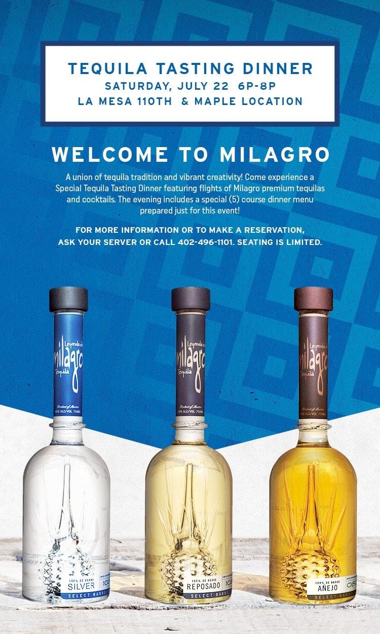 La Mesa Milagro Tequila Tasting
